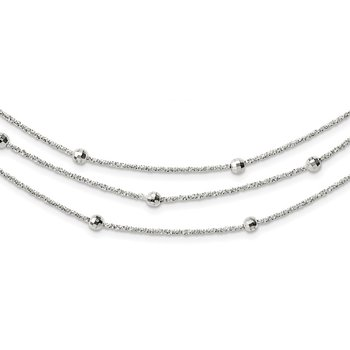 Sterling Silver Polished 3 Strand Beaded w/2in. Ext. Necklace