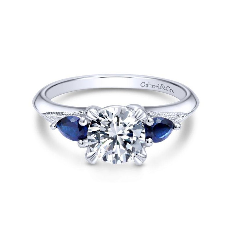 Gabriel Bridal 14K White Gold Sapphire and Diamond Engagement Ring