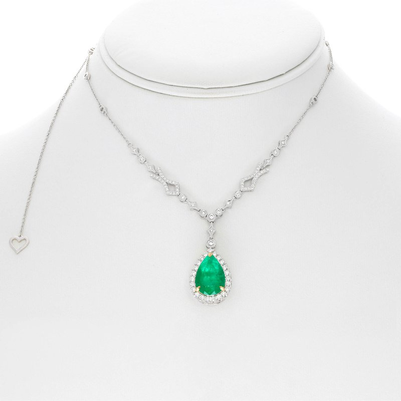 Roman & Jules Pear-shaped Emerald Halo Necklace