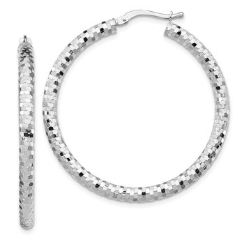 14k White Gold 3x30mm Diamond-cut Hoop Earrings