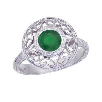 14k White Gold Emerald Filigree Ring