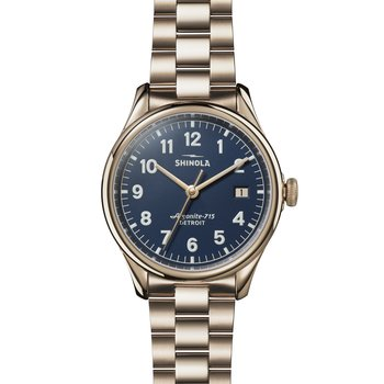 The Vinton 38mm Champagne PVD Gold Blue Dial Bracelet Watch
