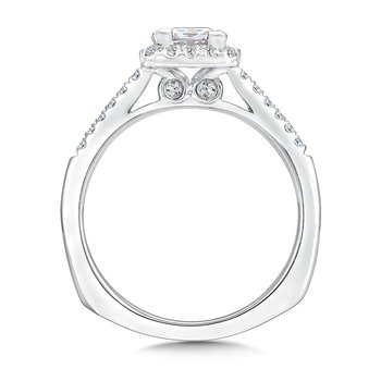 Cushion shape halo mounting .25 ct. tw., 3/4 ct. Princess cut center.