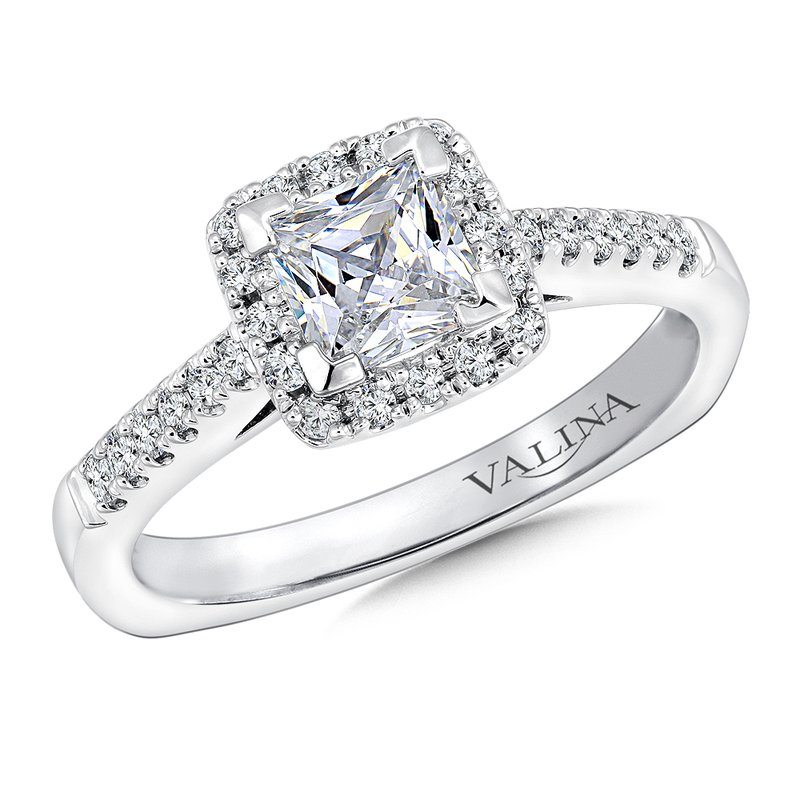 Valina Cushion shape halo mounting .25 ct. tw., 3/4 ct. Princess cut center.