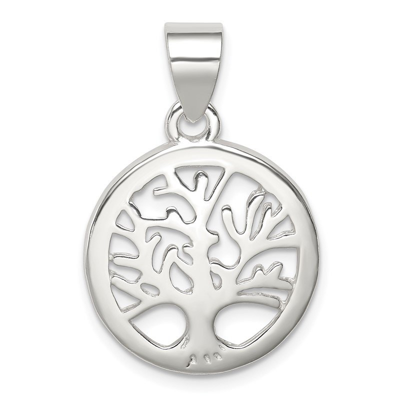 JC Sipe Essentials Sterling Silver Polished Round Tree Pendant