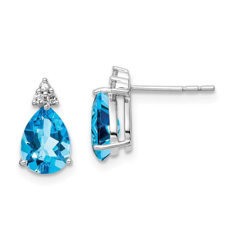 Quality Gold Sterling Silver Rhodium Diamond & Light Swiss Blue Topaz Post Earrings