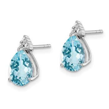 Sterling Silver Rhodium Diamond & Light Swiss Blue Topaz Post Earrings
