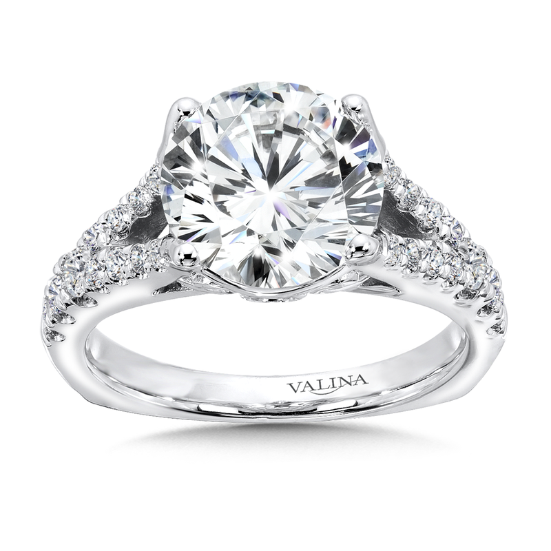 Valina Bridals Diamond Split Shank Engagement Ring in 14K White Gold (0.47 ct. tw)