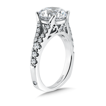 Diamond Split Shank Engagement Ring in 14K White Gold (0.47 ct. tw)