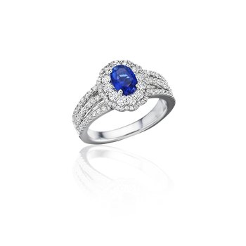 With Love Sapphire and Diamond Triple Row Split Shank Ring