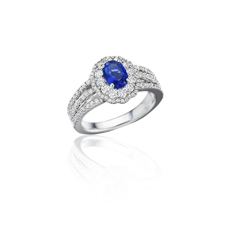 Fana With Love Sapphire and Diamond Triple Row Split Shank Ring