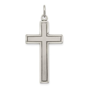 Sterling Silver Antiqued & Satin Cross Pendant