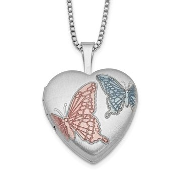 Sterling Silver RH-plated 16mm Enamel Butterfly Heart Locket Necklace