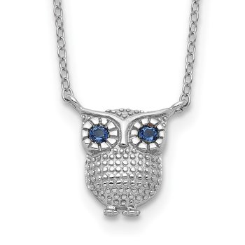 Sterling Silver RH-pltd Blue Synthetic Sapphire Owl 2in ext Necklace