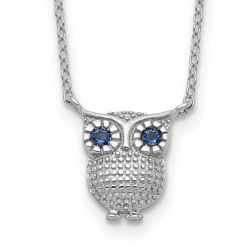 Quality Gold Sterling Silver RH-pltd Blue Synthetic Sapphire Owl 2in ext Necklace