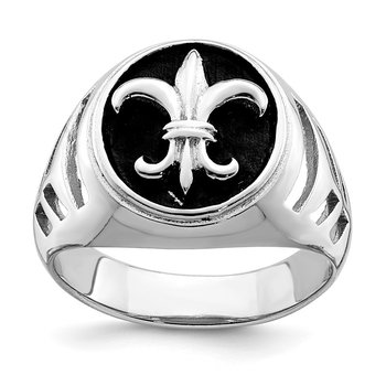 Sterling Silver Rhodium-plated & Antiqued Plated Fleur de lis Ring