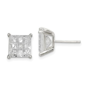 Sterling Silver 8mm Square Laser-cut CZ Basket Set Stud Earrings