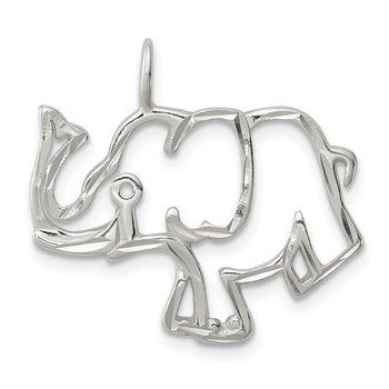 Sterling Silver Diamond Cut Outline of Elephant Pendant
