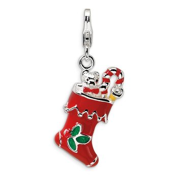 Sterling Silver 3-D Red Enameled Holiday Stocking w/Lobster Clasp Charm