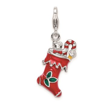 SS Rh 3-D Red Enameled Holiday Stocking w/Lobster Clasp Charm