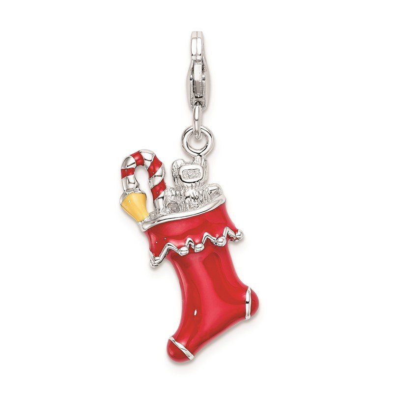 Quality Gold Sterling Silver Amore La Vita Rhod-pl 3-D Enameled Holiday Stocking Charm
