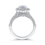 Carizza 14K White Gold Oval Diamond Halo Vintage Engagement Ring (Semi-Mount)