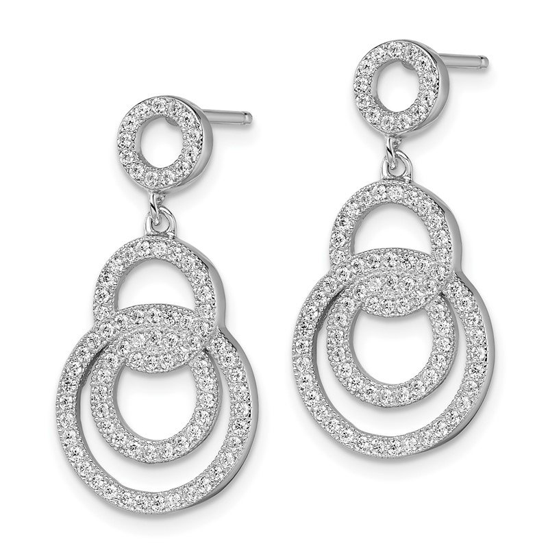 Quality Gold Sterling Silver Brilliant Embers Rhodium-pl CZ Circle Dangle Post Earrings