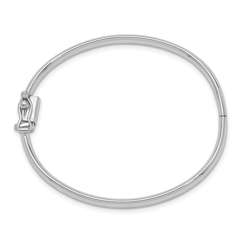 Quality Gold 14k White Gold Polished Hinged Safety Clasp Baby Bangle