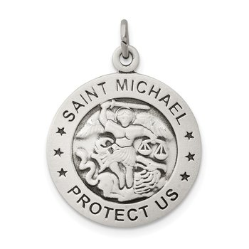 Sterling Silver Antiqued Saint Michael Navy Medal