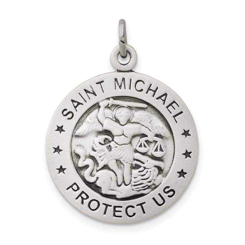 Quality Gold Sterling Silver Antiqued Saint Michael Navy Medal