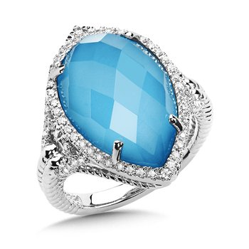 Turquoise Fusion and Diamond Ring in 14K White Gold