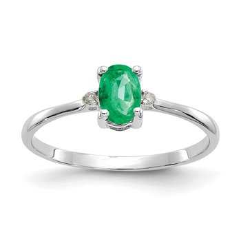 10k White Gold Polished Geniune Diamond & Emerald Birthstone Ring