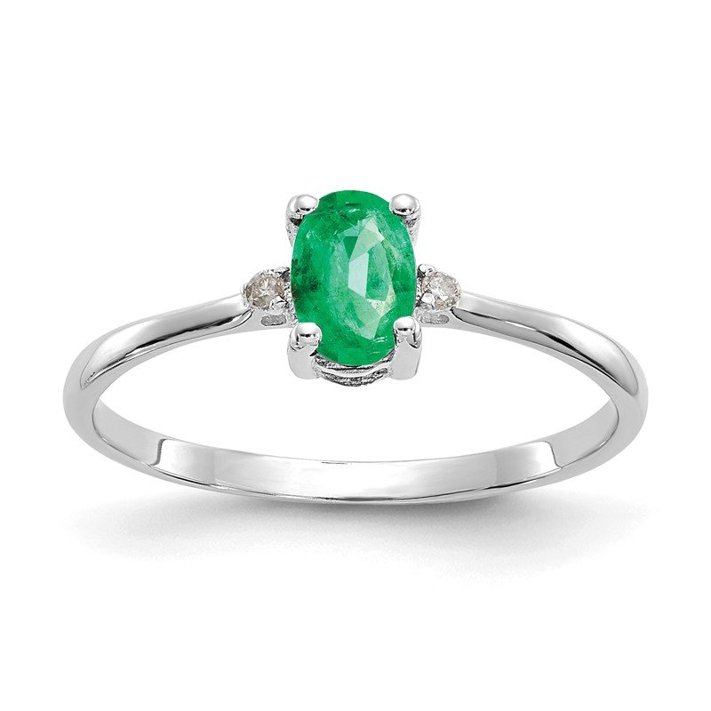 Quality Gold 10k White Gold Polished Geniune Diamond & Emerald Birthstone Ring