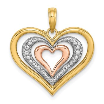 14k Two-tone White Rhodium Textured and Polished Triple Hearts Charm