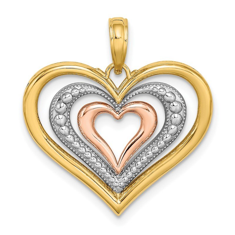 Quality Gold 14k Two-tone White Rhodium Textured and Polished Triple Hearts Charm
