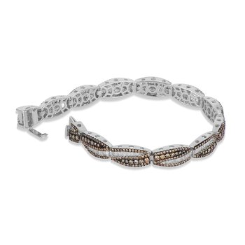 14K WG White and Champagne Diamond Brade Design Bracelet