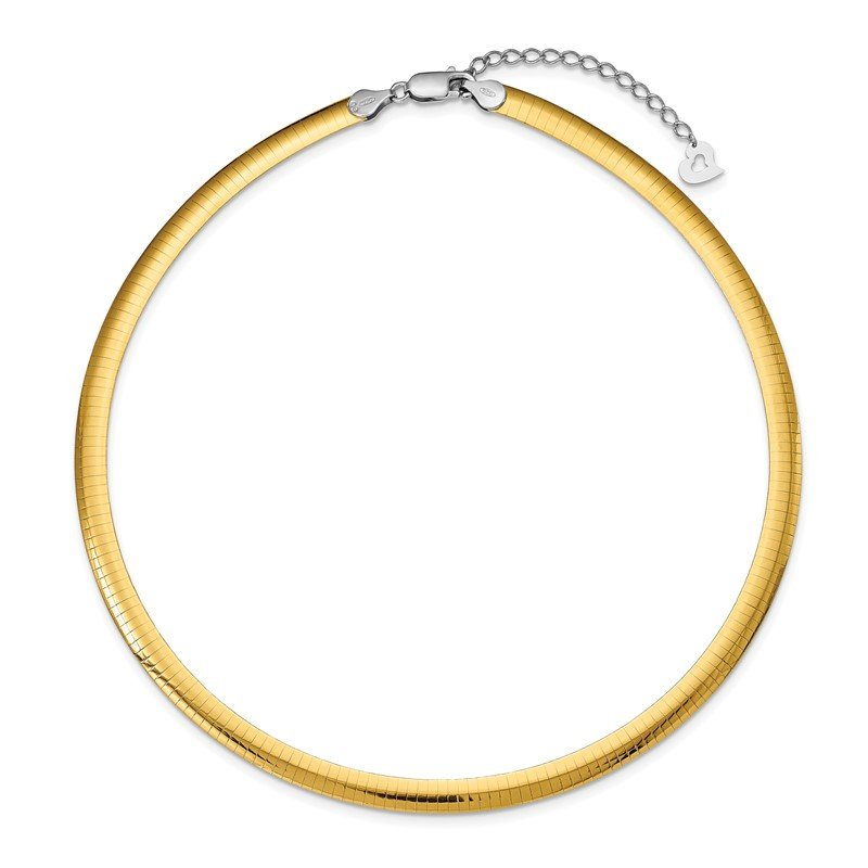 Quality Gold Sterling Silver Gold-plated 6mm Reversible w/2in ext Cubetto Chain