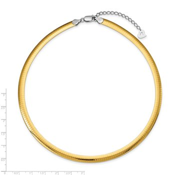 Sterling Silver Gold-plated 6mm Reversible w/2in ext Cubetto Chain