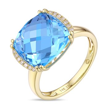 Cushion Blue Topaz Ring with Diamonds