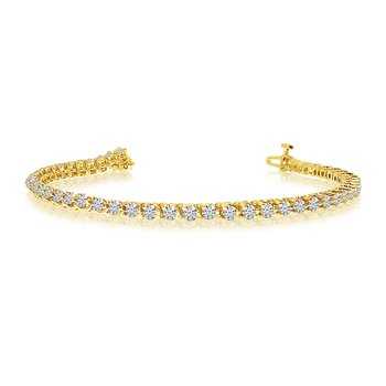 14k Yellow Gold Classic 3 Ct. Tennis Bracelet