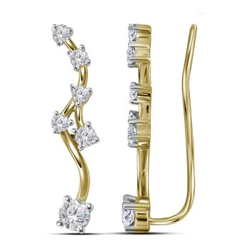 10kt Yellow Gold Womens Round Diamond Climber Earrings 3/4 Cttw