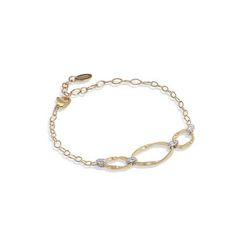 Marrakech Onde Collection 18K Yellow Gold and Diamond Link Three Station Bracelet