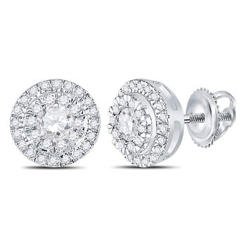 10kt White Gold Womens Round Diamond Circle Cluster Stud Earrings 1/2 Cttw