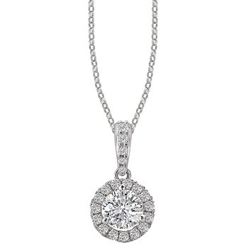 Ladies Diamond Halo Pendant