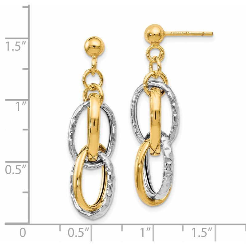 Leslie's Leslie's 14K Two-tone Polished Textured Post Dangle Earrings