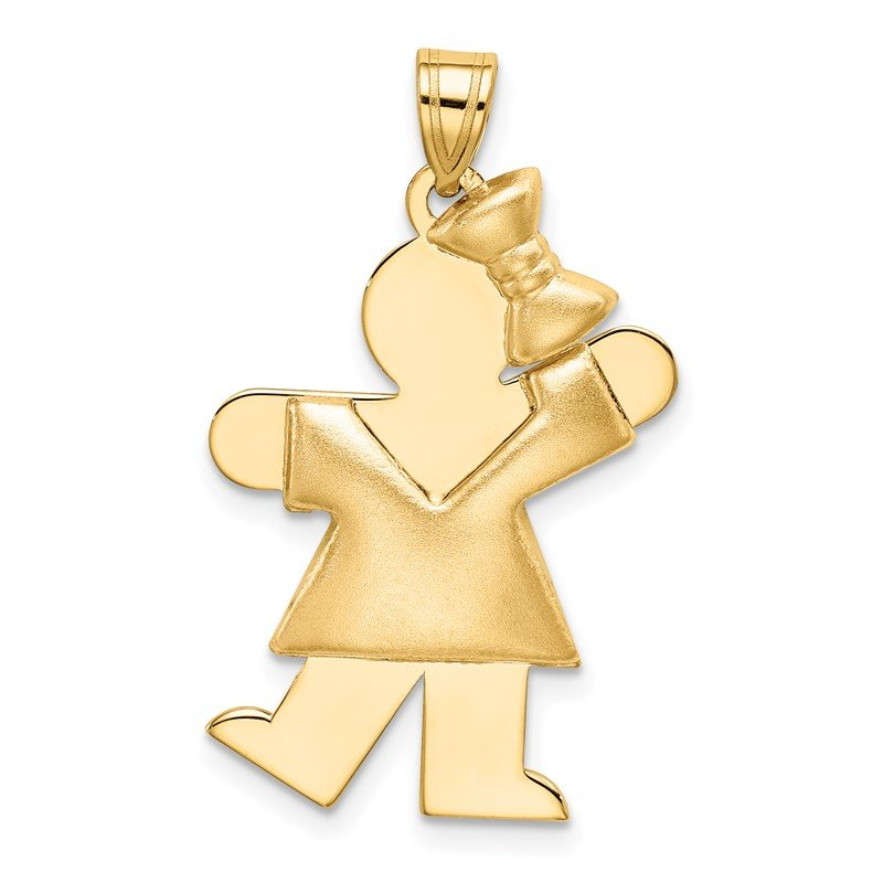 Quality Gold 14k Puffed Girl with Bow on Right Engravable Charm