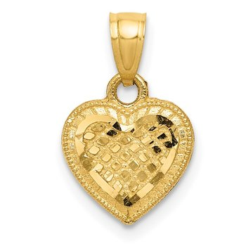 14k Diamond-cut Lattice Heart Pendant