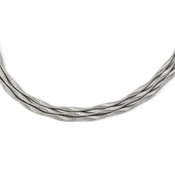 Leslie's Sterling Silver Rhodium-plated 3-strand with 2in ext. Necklace