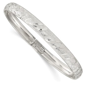 Sterling Silver 6.5mm Diamond-cut Flexible Bangle