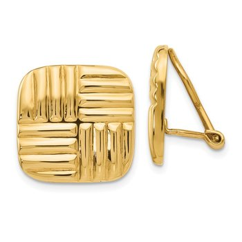 14k Non-pierced Basket weave Earrings